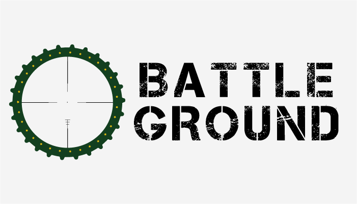 green circle with yellow stars, and crosshairs in the middle. Battle ground logo
